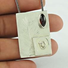 Engaging Garnet Gemstone 925 Sterling Silver Pendant Jewellery