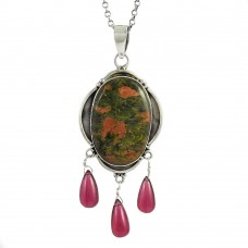 925 Sterling Silver Fashion Jewellery Beautiful Unakite, Garnet Gemstone Pendant De gros