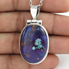925 Sterling Silver Jewellery Traditional Purple Copper Turquoise Gemstone Pendant Wholesale Price