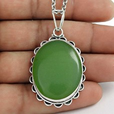 925 Sterling Silver Jewellery High Polish Prehnite Gemstone Pendant Hersteller