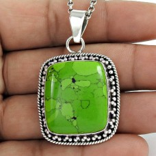 925 Sterling Silver Fashion Jewellery Trendy Green Copper Turquoise Gemstone Pendant Mayorista