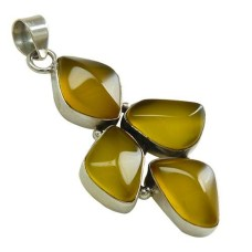 Big Delicate!! 925 Sterling Silver Yellow Chalcedony Pendant