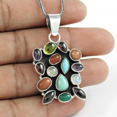 925 sterling silver fashion Jewellery Beautiful Garnet, Turquoise, RMS, Amethyst, Peridot, Brown Sunstone, Carnelian, Green Onyx Gemstone Pendant