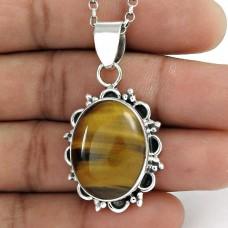 925 sterling silver vintage Jewellery Rare Tiger Eye Gemstone Pendant