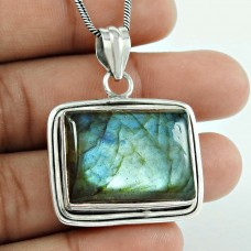 Big Royal Style 925 Sterling Silver Labradorite Pendant