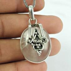 Stunning Rose Quartz Gemstone 925 Sterling Silver Pendant Jewellery