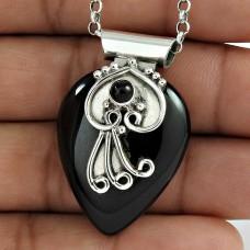 925 Sterling Silver Indian Jewellery Beautiful Black Onyx Gemstone Pendant Fabricante