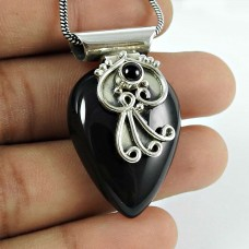 Lustrous Black Onyx Gemstone 925 Sterling Silver Pendant Jewellery