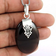 925 Sterling Silver Jewellery Designer Smoky Quartz Gemstone Pendant