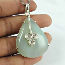 Possessing Good Fortune Chalcedony Gemstone 925 Sterling Silver Pendant Jewellery