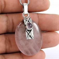 925 sterling silver gemstone Jewellery Trendy Rose Quartz Gemstone Pendant
