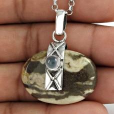Sterling Silver Jewellery Fashion Jasper, Chalcedony Gemstone Pendant Grossiste