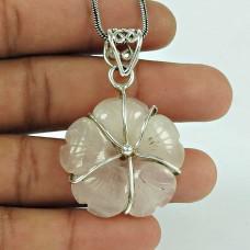 Personable Rose Quartz Gemstone 925 Sterling Silver Pendant Jewellery