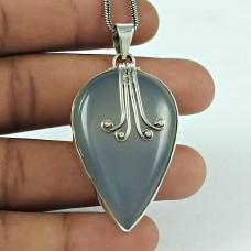 Amusable Chalcedony Gemstone 925 Sterling Silver Pendant Jewellery