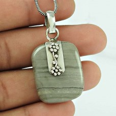 Beautiful Crack Jasper Gemstone 925 Sterling Silver Pendant Jewellery