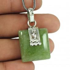 Dainty Green Aventurine Gemstone 925 Sterling Silver Pendant Jewellery