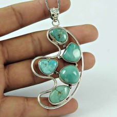 Personable Turquoise Gemstone 925 Sterling Silver Pendant Jewellery