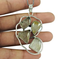 Beautiful Golden Rutile Gemstone 925 Sterling Silver Pendant Jewellery
