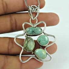Dainty Turquoise Gemstone 925 Sterling Silver Pendant Jewellery