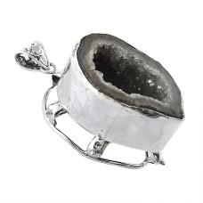 925 Sterling Silver Jewellery High Polish Druzy Gemstone Pendant Fabricant