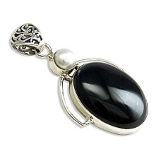 925 Sterling Silver Antique Jewellery Beautiful Black Onyx, Pearl Gemstone Pendant Großhändler