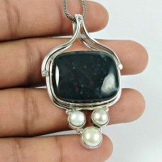 Charming Blood Stone Pearl Gemstone 925 Sterling Silver Pendant Jewellery