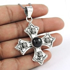 sterling silver fashion Jewellery Beautiful Black Onyx Bohemian Pendant