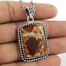 925 Sterling Silver Indian Jewellery Traditional Fuchsite Gemstone Pendant Exporter India