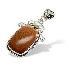 Artisan Work ! Red Sunstone, Pearl 925 Sterling Silver Bohemian Pendant