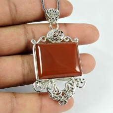 Fashion Carnelian Gemstone 925 Sterling Silver Filigree Pendant Jewellery