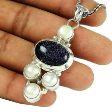 Rattling Blue Sunstone Pearl Gemstone 925 Sterling Silver Pendant Jewellery
