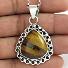 Before Time ! Tiger Eye 925 Sterling Silver Pendant