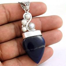 925 Silver Jewellery High Polish Sodalite, Pearl Gemstone Pendant Supplier