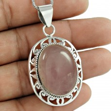 925 Sterling Silver Vintage Jewellery Beautiful Rose Quartz Gemstone Pendant Manufacturer
