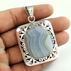 indian silver Jewellery Trendy Blue Lace Agate Gemstone Pendant