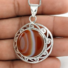 925 Sterling Silver Antique Jewellery Designer Striped Onyx Gemstone Pendant Exporter