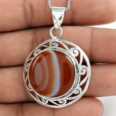 925 Sterling Silver Antique Jewellery Designer Striped Onyx Gemstone Pendant Exporter
