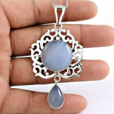 925 Sterling Silver Gemstone Jewellery Trendy Blue Lace Agate Gemstone Pendant De gros