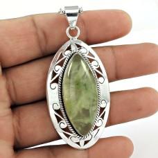 925 Sterling Silver Fashion Jewellery Charming Prehnite Gemstone Pendant Wholesaler India
