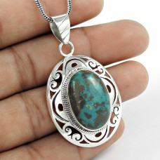 sterling silver Jewellery Party WearChrysocolla Gemstone Pendant