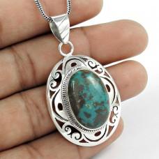 sterling silver Jewellery Party WearChrysocolla Gemstone Pendant