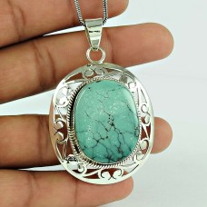 Natural Turquoise Gemstone 925 Sterling Silver Filigree Pendant Jewellery