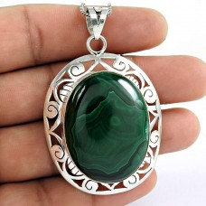 925 sterling silver indian Jewellery Rare Malachite Gemstone Pendant
