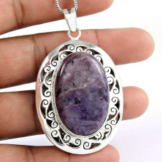 925 sterling silver Jewellery Beautiful Charoite Gemstone Pendant
