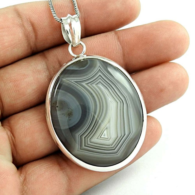 Natural Botswana agate handmade 925 silver plated pendant earrings set Z8852