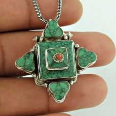 925 Sterling Silver Bohemian Jewellery Charming Turquoise, Coral Gemstone Pendant Manufacturer India