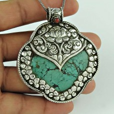 Awesome !! 925 Sterling Silver Tibetan Coral, Turquoise Bohemian Pendant