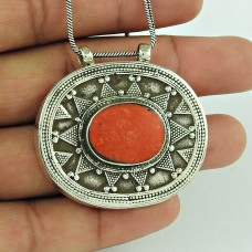 Spectacular Design !! Bohemian 925 Sterling Silver Coral Pendant