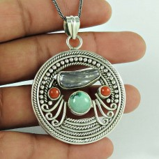 Before Time ! 925 Sterling Silver Coral, Turquoise, Freshwater Pearl Bohemian Pendant