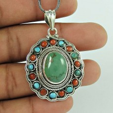 indian silver Jewellery Trendy Coral, Turquoise Gemstone Pendant